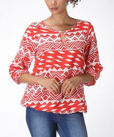 Look at this #zulilyfind! Orange & White Tribal Top - Women by LARA Fashion #zulilyfinds
