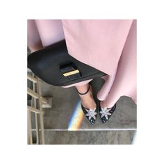 Chloe bag, Charlotte Olympia heels and pink dress