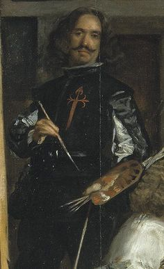 Velasquez: Detail of Las Meninas (self portrait) Leading royal court painter of the Spanish Golden Age painted in 1656