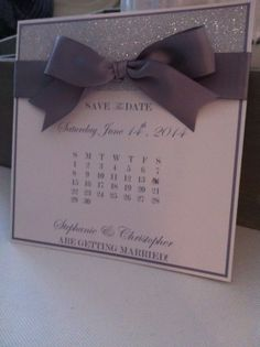 Save the date by WiththisRingDesigns on Etsy, $4.00. But with gold glitter, pearl paper, maybe blush bow.