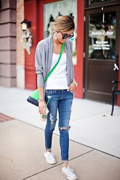 Love this look! Comfy casual. Probably wouldn't wear the tennis shoes with it, just not me