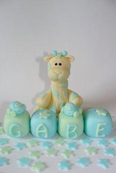 Edible Fondant Cake Toppers   Boy Giraffe & by SugarDoughDesigns, $22.00.