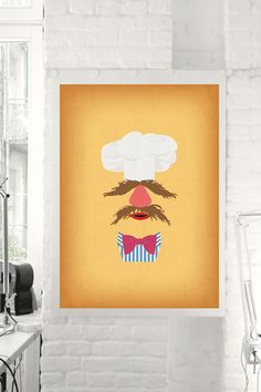 "The Muppet Show ""Swedish Chef"" Minimalist Poster - Retro Style Print Home Wall Muppet Babies Nursery Art Birthday"