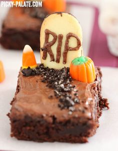 Fudgy Graveyard Brownies--brownie mix, some Milano Cookies, Oreos, Candy Corn and melted chocolate chips