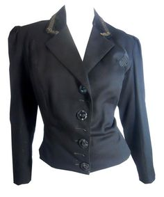 Velvet and Soutache Trimmed Black Wool Jacket circa late 1800s - Dorothea's Closet Vintage