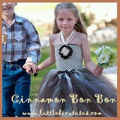Who doesn't love a little Cinnamon? This pretty, earth toned brown and ivory dress reminds me of Grandma's Cinnamon rolls. Indulge yourself. Perfect for weddings.  Only at Little Diva Tutus.com @Little Diva Tutus