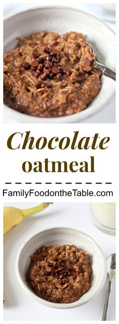 Chocolate oatmeal - a clean-eating, delicious breakfast in under 5 minutes! | Family Food on the Table