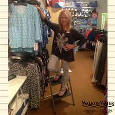 Dale is modeling trendy #TopandJeans. To cut these jeans or leave them alone?  Busting w fashion at #WalkOnWaterBoutiques