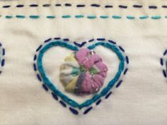 Something Blue Wedding Gift Yoyo hearts Pillowcase set Hand made and hand embroidered by AnniesUPAttic on Etsy Handmade Pillows, Handmade Items, Handmade Gifts, Blue Pillow Cases, Personalized Pillow Cases, Something Blue Wedding, Embroidered Pillowcases, Pink Tone, Bridal Shower Gifts