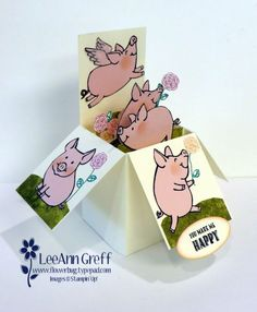 Fun box card with This Little Piggy and Happy Birthday Gorgeous - all from Stampin' Up! Fun Fold Cards, 3d Cards, Folded Cards, Happy Birthday Gorgeous, Pop Up Box Cards, This Little Piggy, Shaped Cards, Stamping Up Cards, Animal Cards