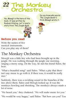 Grade 2 Reading Lesson 22 Short Stories – The Monkey Orchestra