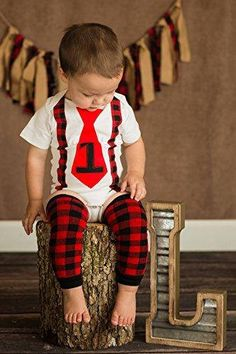 PERFECT FULL SET! Includes finished onesie, leg warmers, plush toy prop axe and 1 on butt! Hello Little Man, you sure look classy! Sure beats an uncomfortable suit or tuxedo! This unique onesie was designed by two moms that wanted a super cute and affordable birthday outfit for their