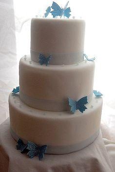 Simple 3 Tier Wedding Cakes | blue butterflies wedding cake simple 3 tier white fondant wedding cake ...