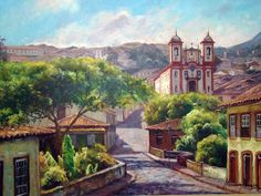 """""""Ouro Preto"""" de Helvécio Morais South American Art, Barn Art, Naive Art, Art And Architecture, Google Images, Brazil, Watercolor Paintings, Image Search, House Styles"""