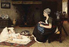 David Adolf Constant Artz (Dutch, 1837–1890) - Resting by the Fire