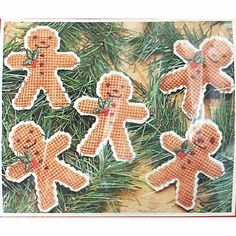 Gingerbread Men Christmas Ornaments Plastic Canvas Kit Mary Maxim 37083 c2219 #MaryMaxim
