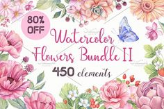 Watercolor Flowers Bundle - Illustrations