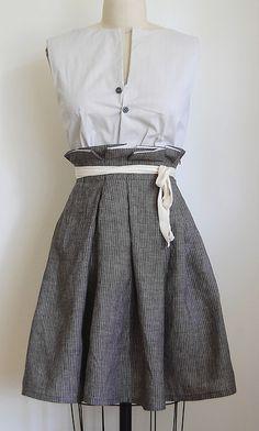 linen random fold skirt by Martha McQuade