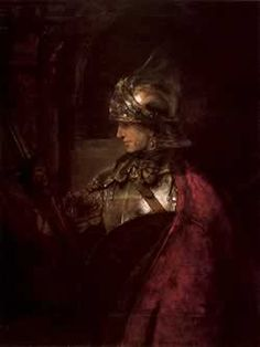 'A Man in Armour' by Rembrandt, 1655. Currently housed in the Art Gallery and Museum of Glasgow, Scotland. It is believed Rembrandt depicted the figure to show techniques in light using reflection in armour but it is not reported to be a depiction of any singular person. It has however been attributed to Alexander the Great and Rudolph Steiner attributed it to Christian Rosenkreuz. So the painting has its own mysteries attached.