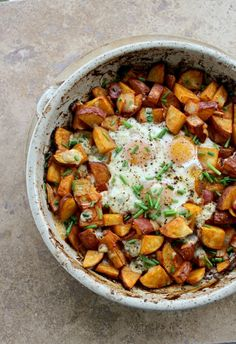Smoked Paprika Potato and Egg Bake. A hearty one-dish meal for breakfast or dinner.