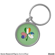Azores Shamrock Flag Silver-Colored Round Keychain