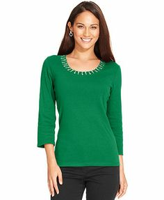 Style&co. Top, Three-Quarter-Sleeve Embellished