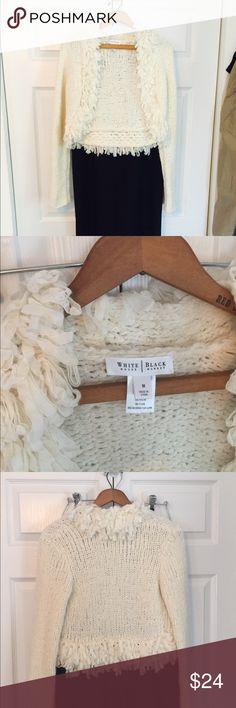 """WHBM Fringe Bolero Cream colored long sleeve Bolero sweater by White House Black Market.  Approx 17"""" long plus 1.5"""" fringe.  Sleeves measure 26.5"""" long.  Unstretched approx 15"""" across.  Size M. White House Black Market Sweaters Shrugs & Ponchos"""