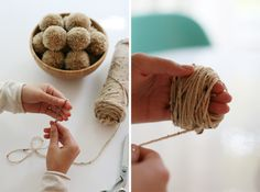 DIY: Pom Pom Garland  This is a wonderful tutorial for making pom-poms. I love using them to decorate packages.