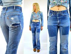 Vintage 70s 646 Levis Orange Tag Indigo Denim PERFECT Bohemian Hippie Patchwork Jeans 30x32 by RoslynVTGTradingCo on Etsy