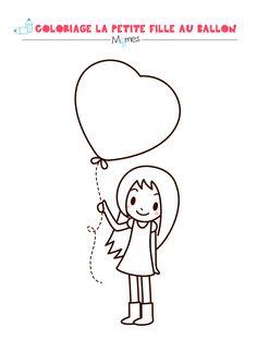 Coloriage Saint Valentin : La petite fille au grand coeur <3