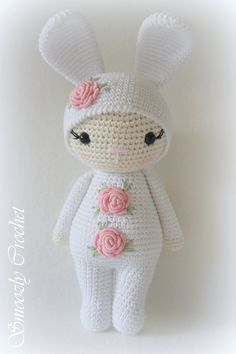 Such A Cute Bunny/Girl Crochet Häkeln Bunny Hase Girl Mädchen Amigurumi Application Crochet Doll Pattern, Crochet Patterns Amigurumi, Amigurumi Doll, Crochet Rabbit, Cute Crochet, Diy Crafts Crochet, Crochet Projects, Knitted Dolls, Crochet Dolls