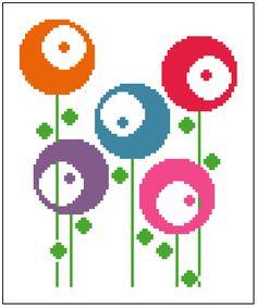 Retro round flowers. Contemporary cross stitch. Modern cross stitch pattern. by crossstitchtheline on Etsy