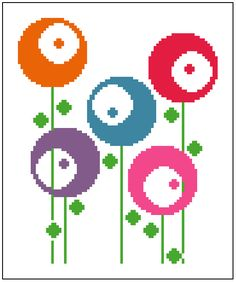 Retro round flowers. Contemporary cross stitch. Modern cross stitch pattern. by crossstitchtheline on Etsy