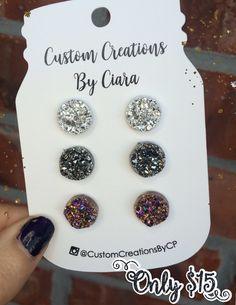 Silver, Rosegold, Gunmetal Druzy Earring Set, Stud Earrings, Faux Druzy Earring, Druzy Earrings , Stone Jewelry, Boutique, Stud Opal