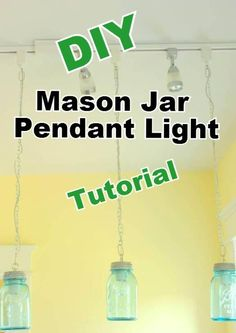 DIY  Mason Jar Pendant Lights Remodelaholic.com #light #mason_jar #tutorial