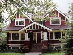 red with white trim -- Craftsman bungalow