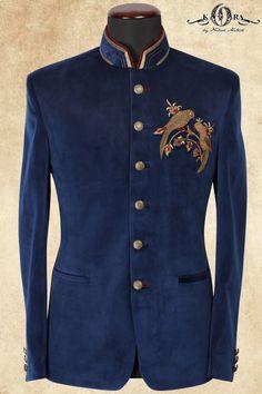 Ocean Blue Velvet Bead Embroidered Jodhpuri Suits-ST659