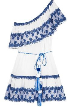 Miguelina - Gauze-paneled Broderie Anglaise Cotton-voile Mini Dress - Bright blue