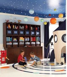 Space Themed Room Ideas, Bring The Stars Into Your Home ! Explore the wonders out in space from your own home with space themed room decor! Make it a room that they can imagine and grow in. It all starts with Bedroom Themes, Kids Bedroom, Bedroom Ideas, Robot Bedroom, Planet For Kids, Playroom Design, Playroom Ideas, Design Bedroom, Playroom Shelves