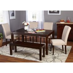 Target Marketing Systems Axis 6 Piece Dining Table Set with Bench - 74016BGE