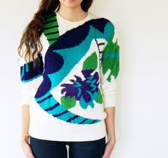 80s Abstract Floral Sweater / Vintage Slouchy Sweater / Bold Floral Sweater / Vintage Jumper