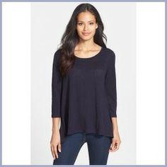 Today Buying - Eileen Fisher Scoop Neck Organic Linen Top (Regular & Petite) Midnight Large