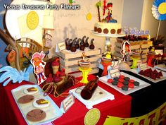 Jake and the Neverland Pirates birthday party dessert table!  See more party planning ideas at CatchMyParty.com!