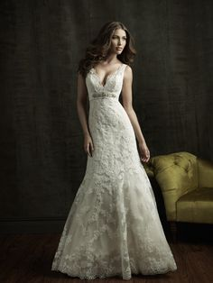 Classic Formal Gold Ivory White $$ - $701 to $1500 A-line Allure Bridals Beading Empire Floor Lace Sash/Belt Satin Sleeveless Sweetheart V-neck Wedding Dresses Photos & Pictures - WeddingWire.com
