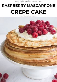 If you're looking for the best summer desserts for a crowd, you're going to love this light Raspberry Mascarpone Crepe Cake. It features quick homemade crepes slathered with Mascarpone cream and topped with fresh raspberries. You can make this dessert ahead of time and serve for parties or potlucks.
