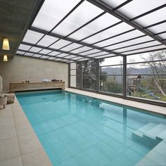 Apartment Balcony Garden, Apartment Balconies, Indoor Pools, Cool Swimming Pools, Swimming Pool Designs, Pool Colors, Pool Enclosures, Shade Canopy, Pool Houses