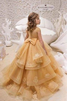 Gold Lace Tulle Belle Dress - Birthday Wedding party Bridesmaid Holiday Gold Tulle Lace Belle Dress - - Source by Gold Flower Girl Dresses, Dresses Kids Girl, Girls Party Dress, Birthday Dresses, Cute Dresses, Beautiful Dresses, Girl Outfits, Belle Dress Kids, Dress Party