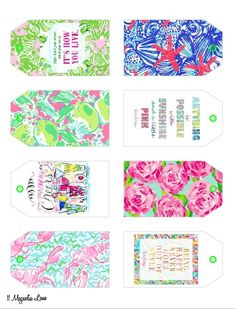 Free Printable Lilly Pulitzer Inspired Gift Tags | Card stock ...