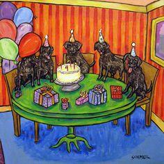 Black Labrador retriever birthday lab dog art tile