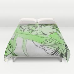 Audrey with Tulip_Green Duvet Cover by SEVENTRAPS | Society6